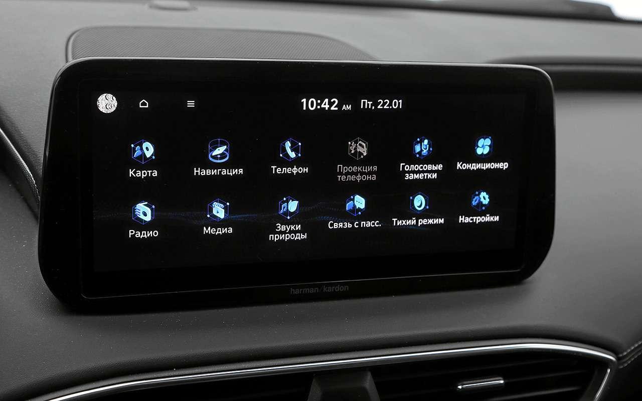 Hyundai Santa Fe2021: онпаркуется скнопки! Идетей баюкает!— фото 1227609