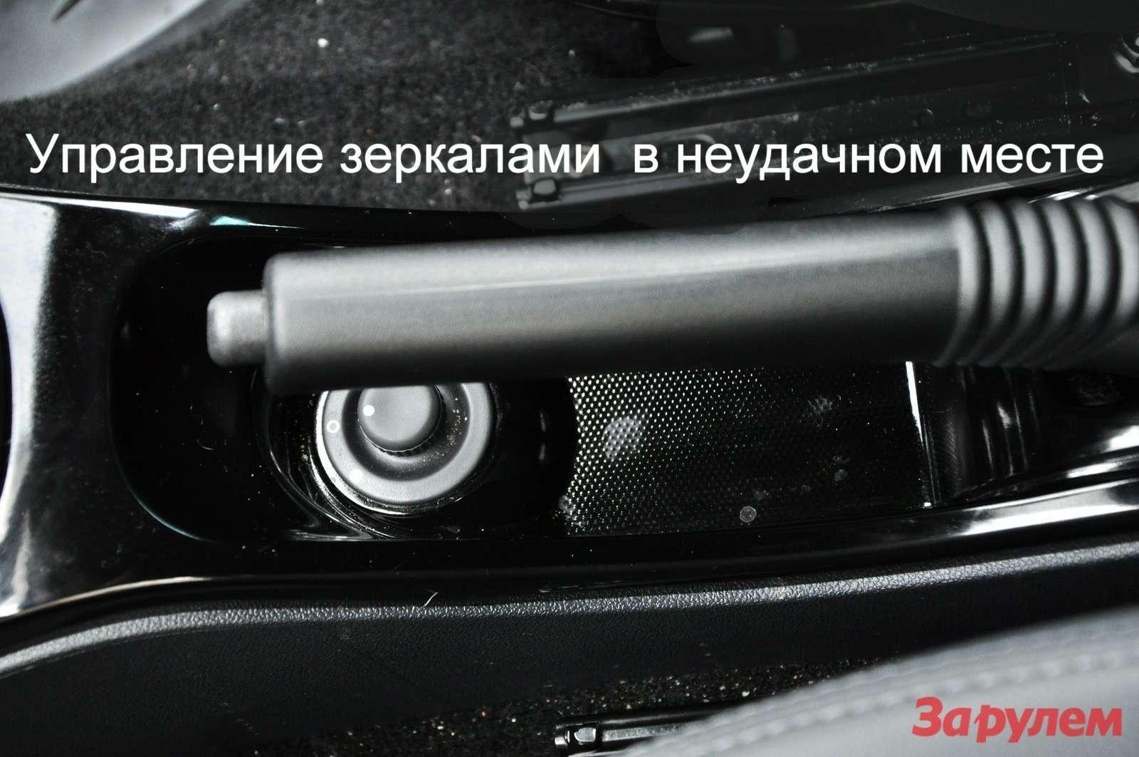 Джойстик управления зеркалами запрятан под