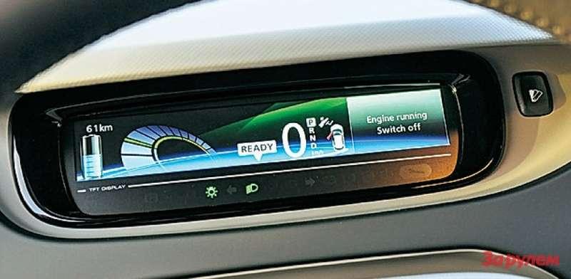 Кнопкой справа меняют графику приборов. Ихокрас изменяется взависимости отскорости истиля езды. Зеленый— наиболее экономичный, фиолетовый— самый энергозатратный.