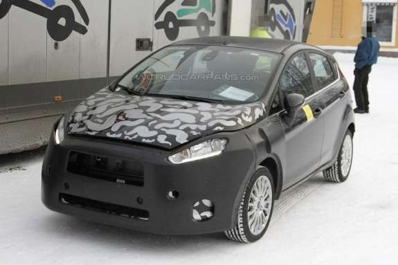 Facelifted Ford Fiesta test prototype side-front view