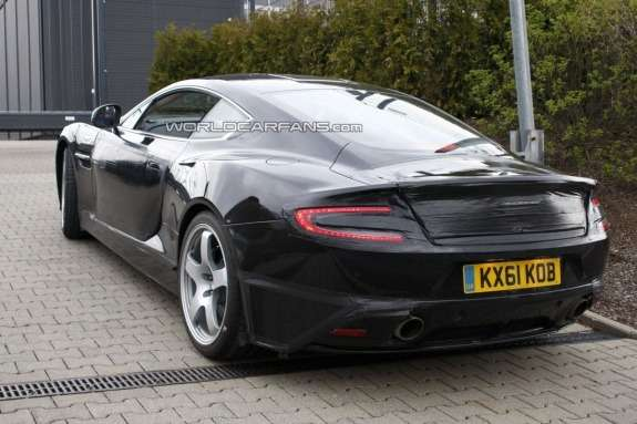 Restyled Aston Martin DBS test prototype side-rear view