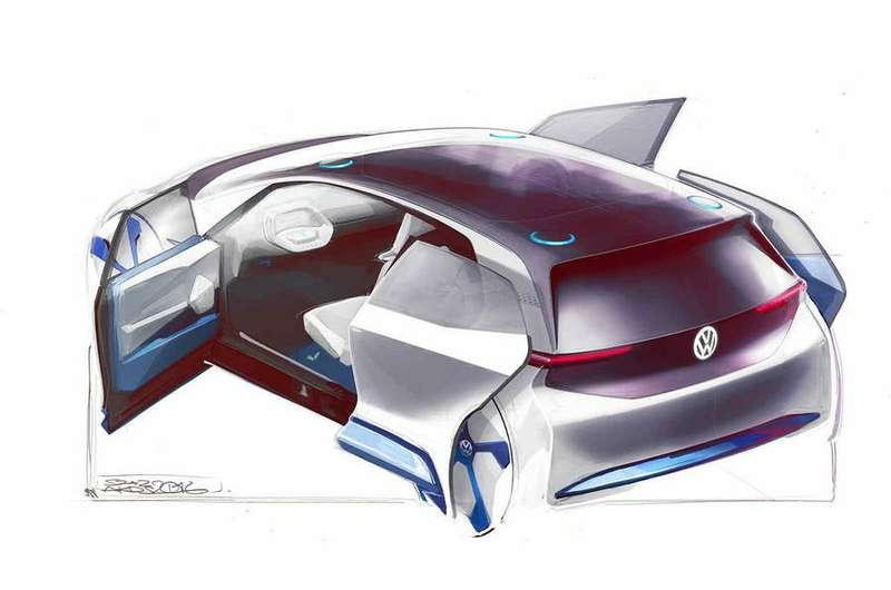 VW продемонстрировал скетчи новейшей пятидверки с навсе 100% электрической установкой