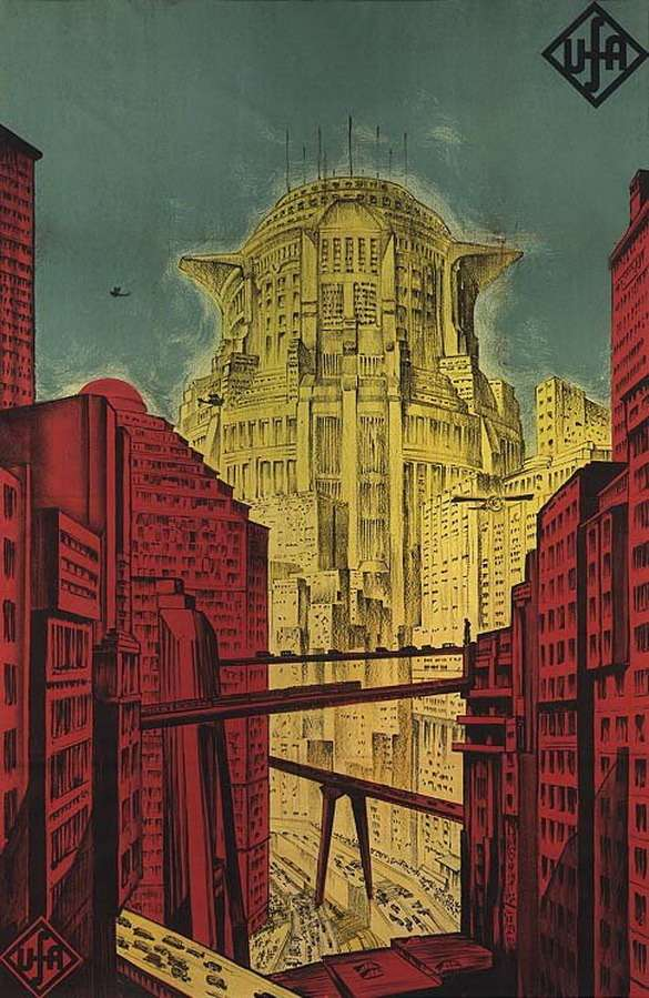 Рекламный плакат фильма «Метрополис» (кинокомпания UFA, режиссер Фриц Ланг, 1927г.)