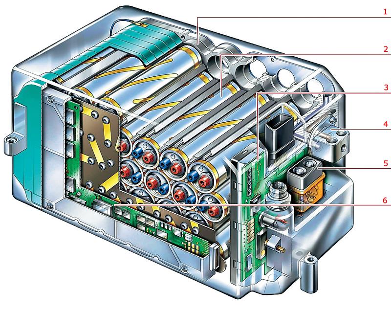 Одна изпервых автомобильных литий-ионных батарей
