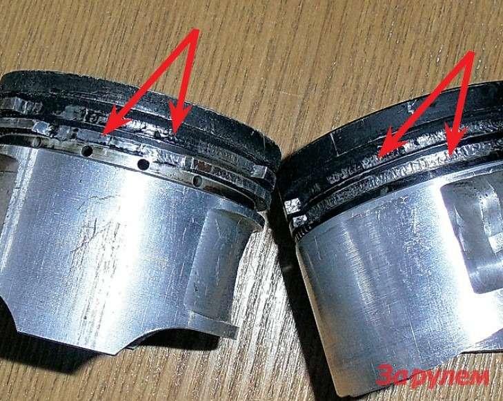 Выбитые перемычки поршневых канавок— самый частый дефект двигателя, вызванный детонацией.