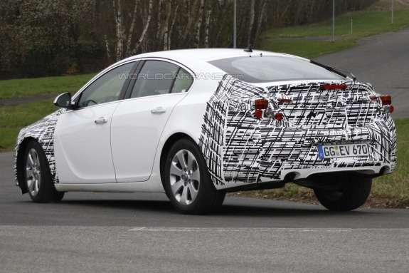 Facelifted Opel Insignia test prototype side-rear view