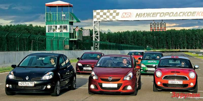 Citroen DS3, Skoda Fabia RS, Seat Ibiza Cupra, Renault Clio RS, Mini Cooper S Coupe, Opel Corsa OPC Nuerburgring Edition
