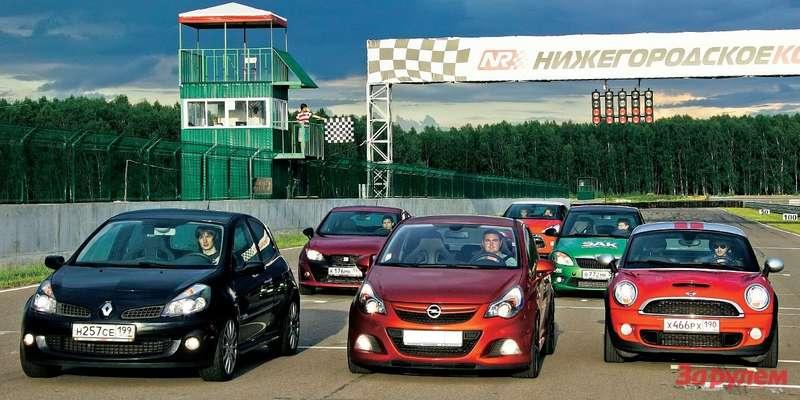 Citroen DS3, Skoda Fabia RS, Seat Ibiza Cupra, Renault Clio RS, Mini Cooper SCoupe, Opel Corsa OPC Nuerburgring Edition