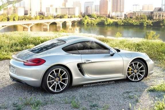Porsche Cayman rendering side-rear view