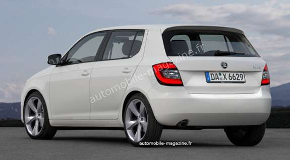 Next Skoda Fabia rendering by L'Automibile side-rear view