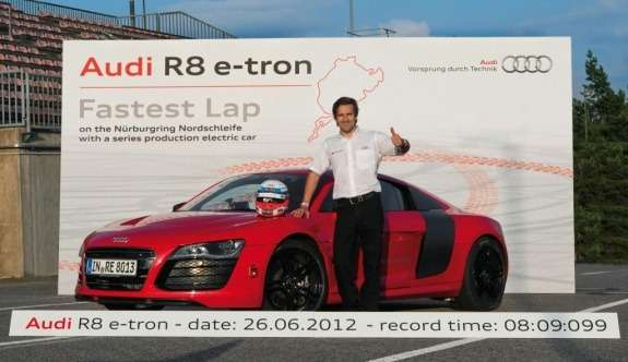 Record-breaking Audi R8e-tron side-front view