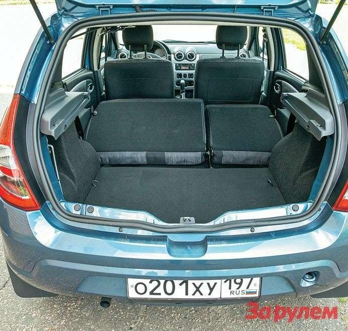 Багажник «Сандеро»— рекордсмен нашего теста: 276 литров, полученных порезультатам замеров, могут превратиться вобещанные производителем 1200.