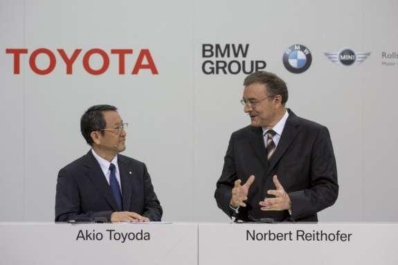Toyota CEO Akio Toyoda with BMW CEO Norbert Reithofer