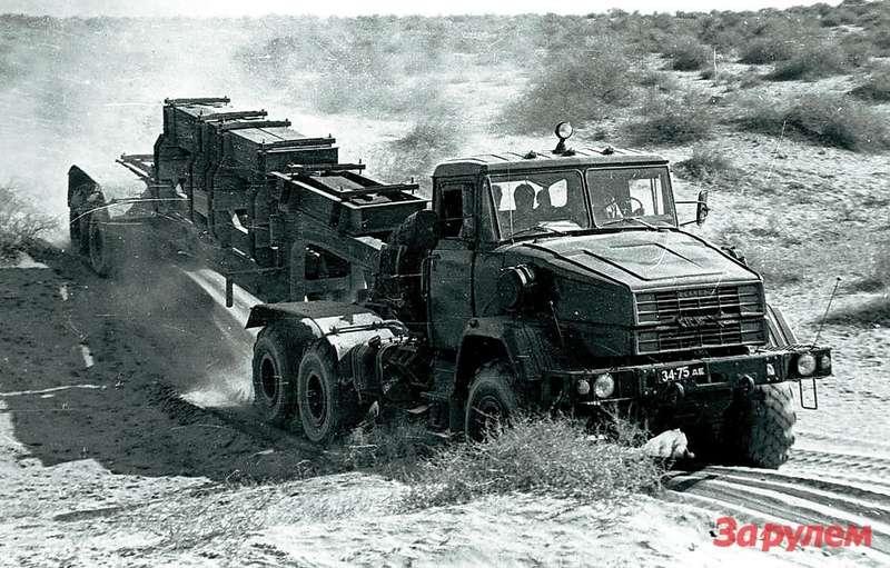 Созданный еще в1984 году опытный автопоезд КрАЗ-6010с активным полуприцепом так инестал серийным.