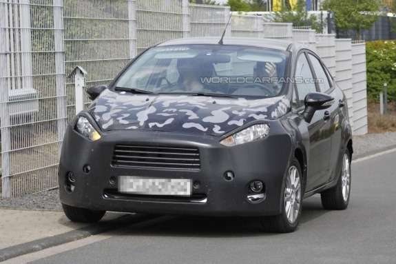 Ford Fiesta sedan test prototype front view
