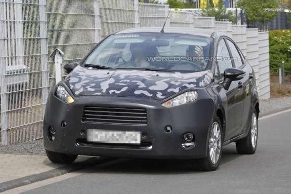 Ford Fiesta sedan test prototype front view