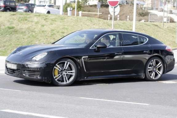 Restyled Porsche Panamera test prototype side-front view