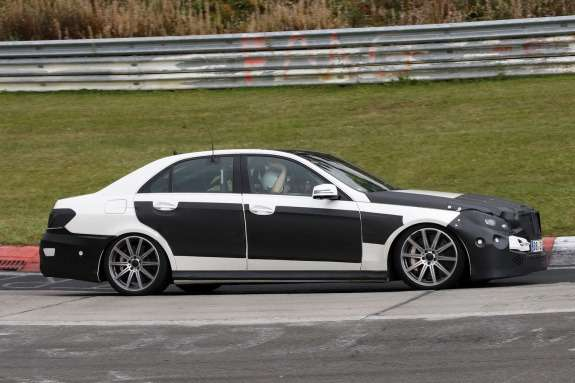 Restyled Mercedes-Benz E 63 AMG test prototype side view_no_copyright