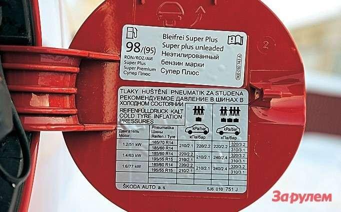 А вот инонсенс: согласно наклейке, главный бензин для«Фабии» (даидля«Ибицы»)— 98‑й. Иэта машина сделана вКалуге дляРоссии?!