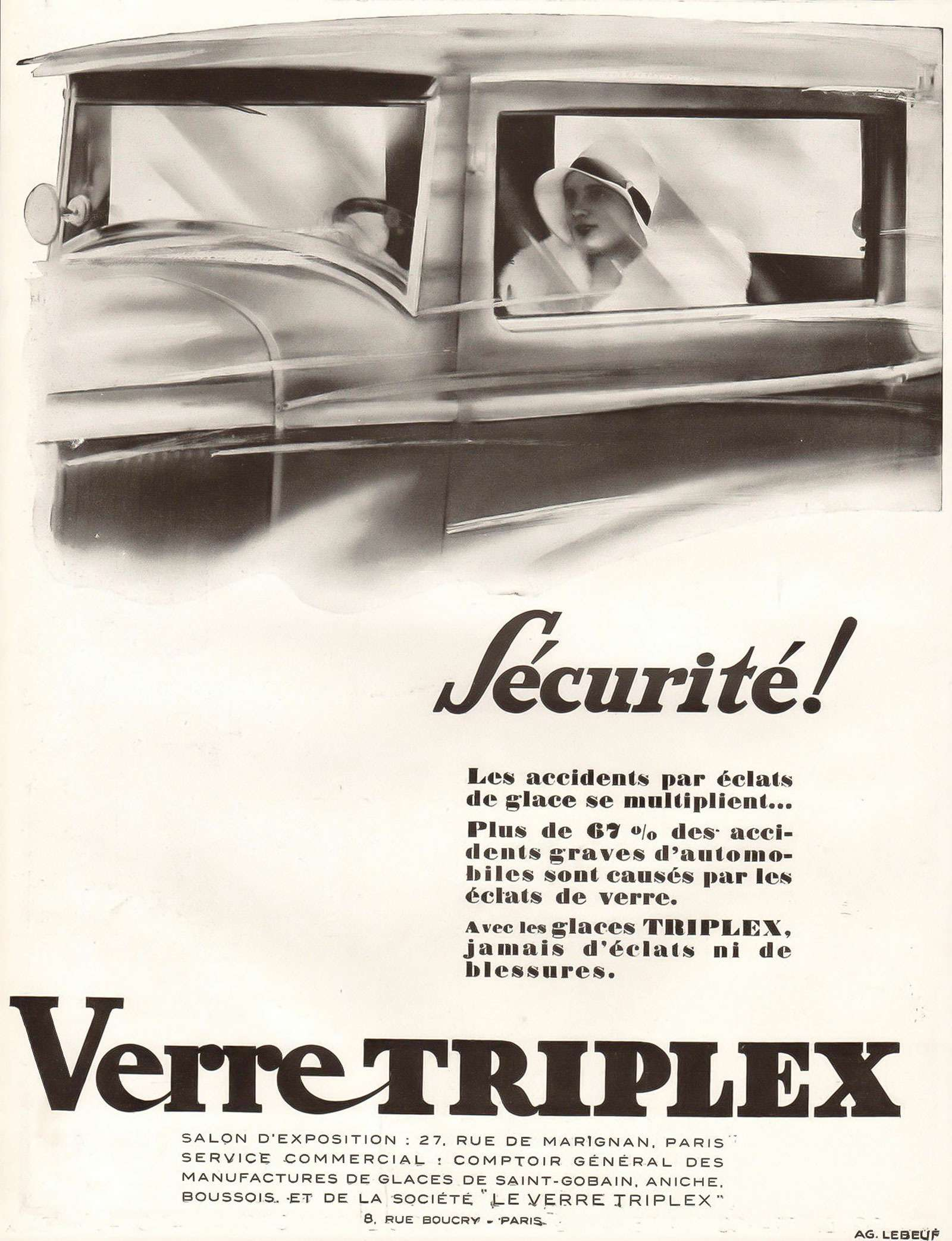 Реклама триплекса 1929 года