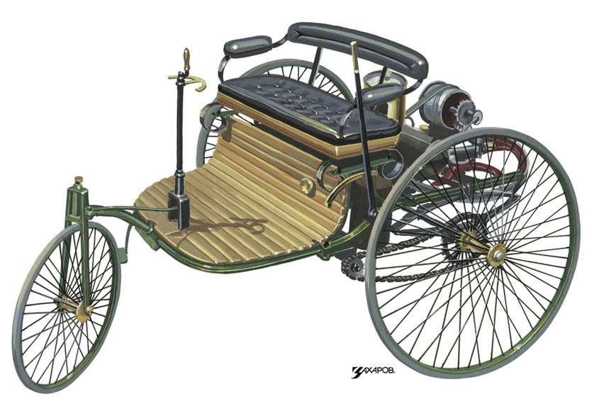 Трехколесный автомобиль Бенца, защищенный патентом DRP 37435, наиллюстрации Александра Захарова кисторической серии журнала «Зарулем»