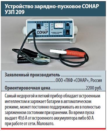 Устройство зарядно-пусковое СОНАР УЗП 209