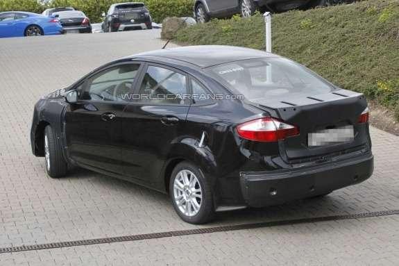 Ford Fiesta sedan test prototype side-rear view