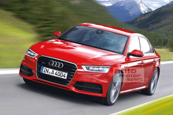 Next-generation Audi A4 sedan rendering by Auto Motor und Sport side-front view