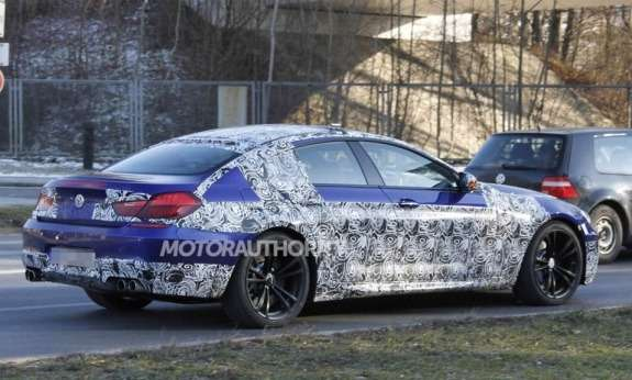 BMW M6 Gran Coupe test prototype side-rear view