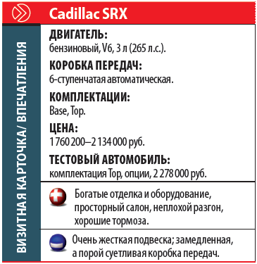 Cadillac SRX: Визитная карточка/впечатления