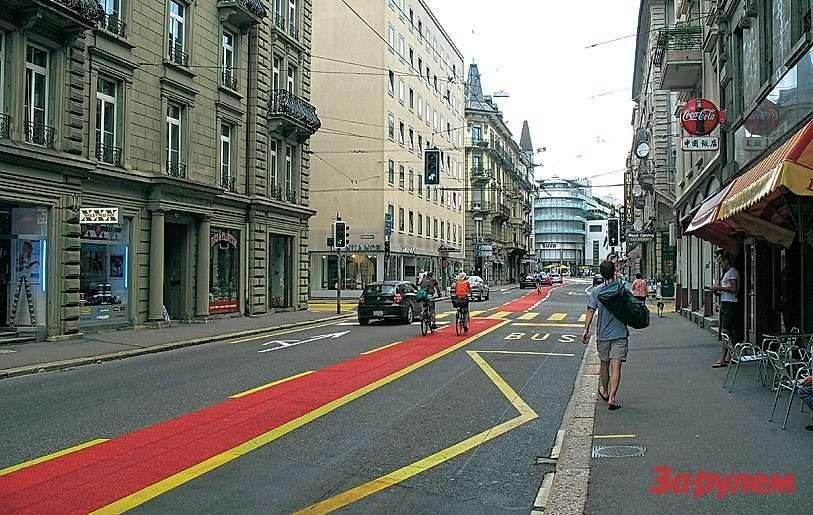 Типичный европейский город: велосипедисты иавтобусы неприкосновенны.