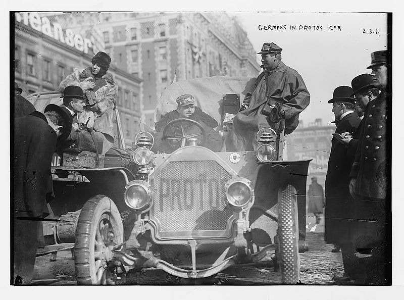 3 New York to Paris race Germans in Protos car, New York no copyright