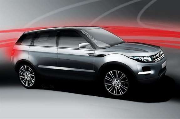 Land Rover Range Rover Evoque XL rendering by Autocar side-front view