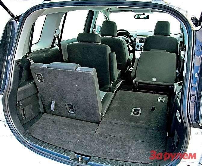 Сложив два ряда, в«Мазде-5» можно увеличить объем багажника до1566л. Хоть холодильник вози!