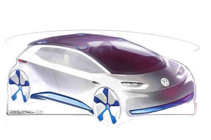 VW продемонстрировал скетчи свежей пятидверки с на100% электрической установкой