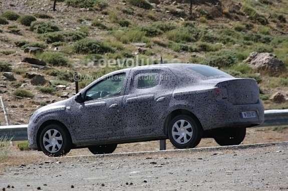 Next Dacia Logan test prototype side-rear view