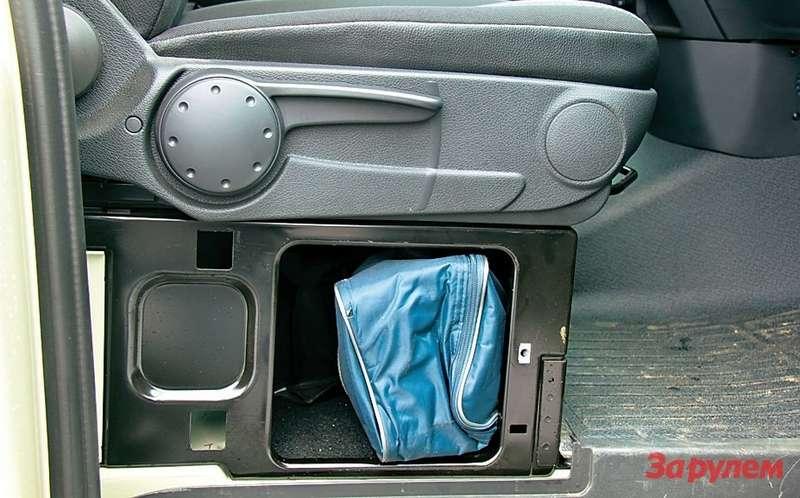 Дорожный набор— знак аварийной остановки, домкрат, трос ипрочую мелочь— разместили вящичке подсиденьем пассажира.