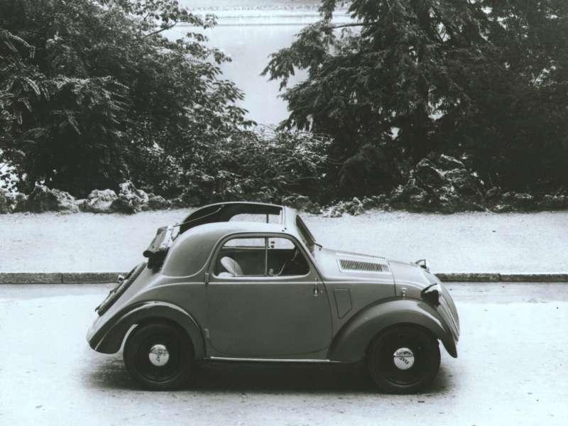 Первое официальное фото Fiat-500. «Скальп», отсутствуют буферы иуказатели поворота, стеклоочиститель всего один— ноэто полноценный автомобиль!