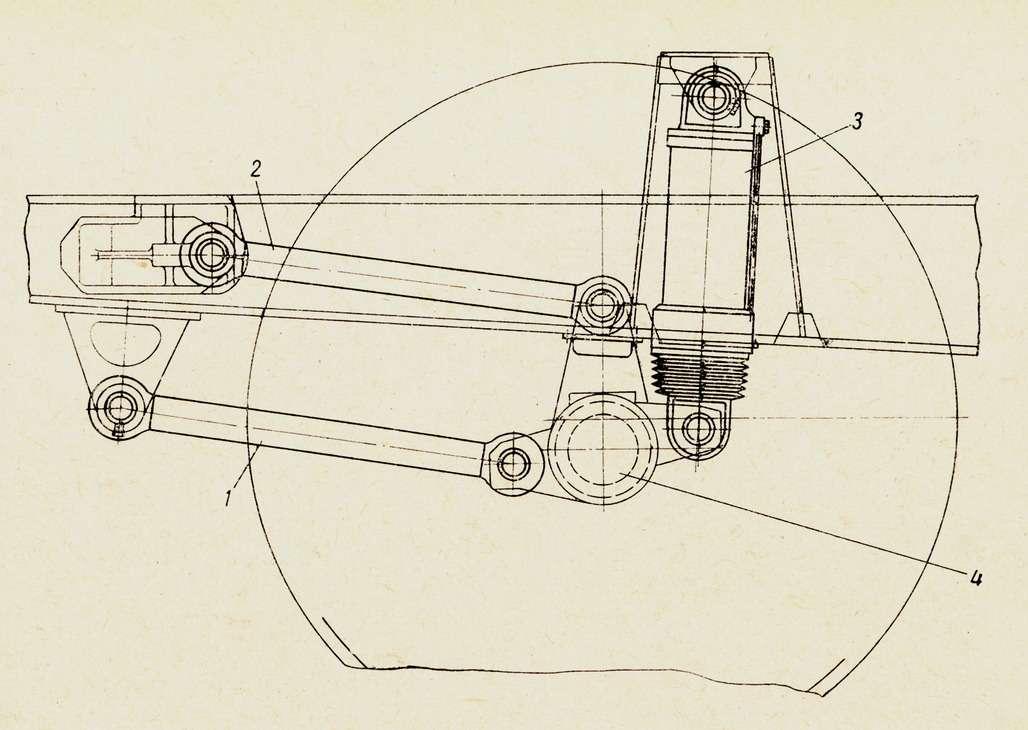 Передняя подвеска самосвалов БелАЗ-540, 540А и548А. 1— нижняя продольная штанга; 2— верхняя продольная штанга; 3— гидропневматический цилиндр подвески; 4— передняя ось. Поперечная штанга навиде непоказана