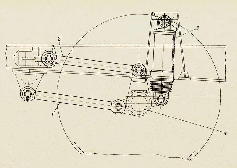 Передняя подвеска самосвалов БелАЗ-540, 540А и548А. 1— нижняя продольная штанга; 2— верхняя продольная штанга; 3— гидропневматический цилиндр подвески; 4— передняя ось. Поперечная штанга навиде не показана