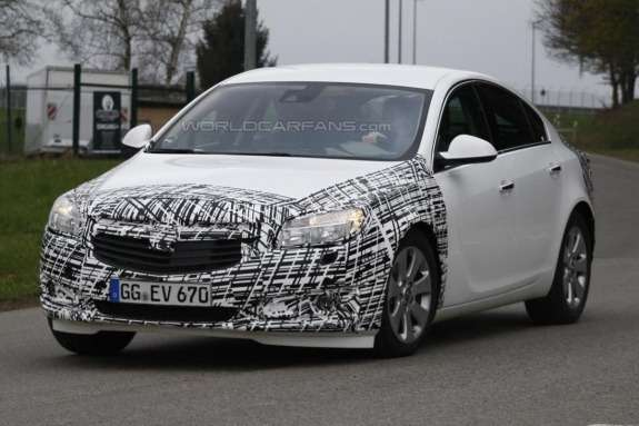 Facelifted Opel Insignia test prototype side-front view