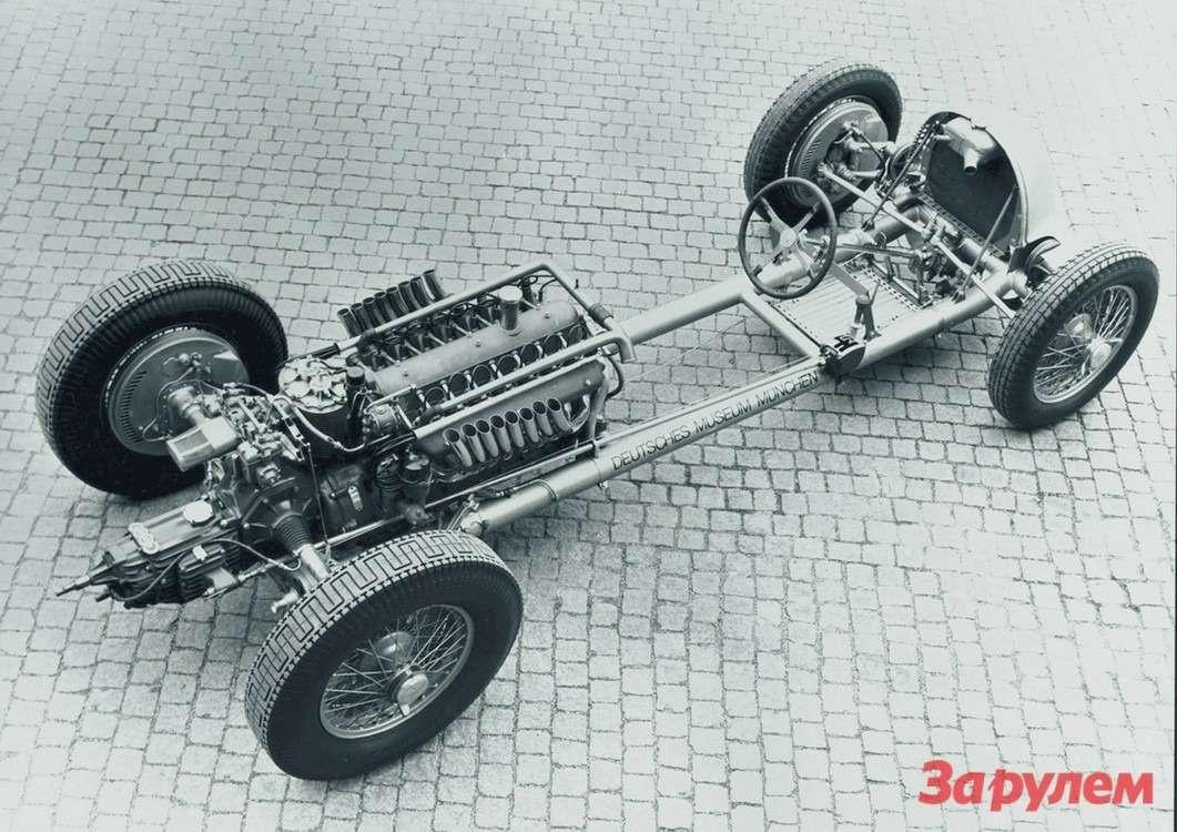 Шасси единственного изсохранившихся подлинных болидов Auto-Union Typ Cизсобрания Deutsches Museum вМюнхене. Сразу после победы вГран-При Германии