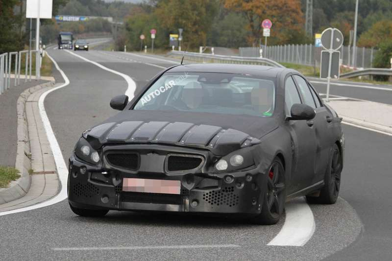 New Mercedes-Benz C 63 AMG test prototype side-front view_no_copyright