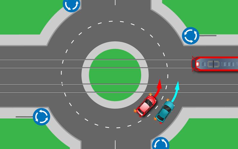 Снова тест про круговой перекресток: кто икому тут уступает?