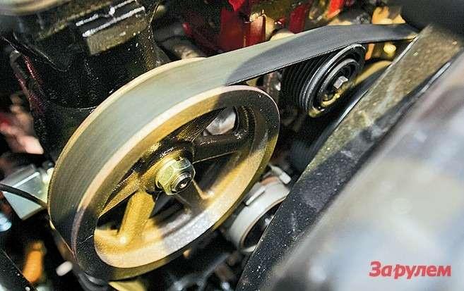 Привод генератора, водяного насоса,  компрессора— поликлиновым ремнем
