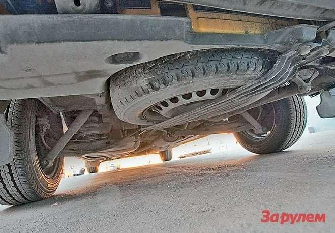 Штатное место запасного колеса подполом кузова. Зато неутащат...