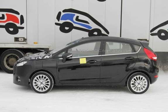 Facelifted Ford Fiesta test prototype side view