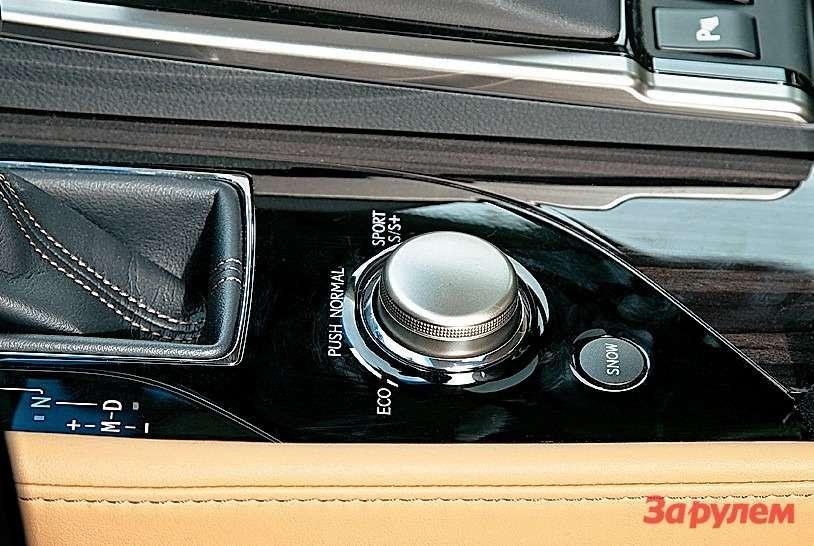 Покрутив шайбу Drive Mode Select, устанавливают один изтрех режимов движения: Eco, Sport S, Sport S+. Нажатием переходят врежим Normal. Интерфейс инуитивно понятен инетребует изучения инструкций.