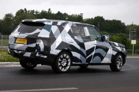 New Land Rover Range Rover EWB test prototype side-rear view