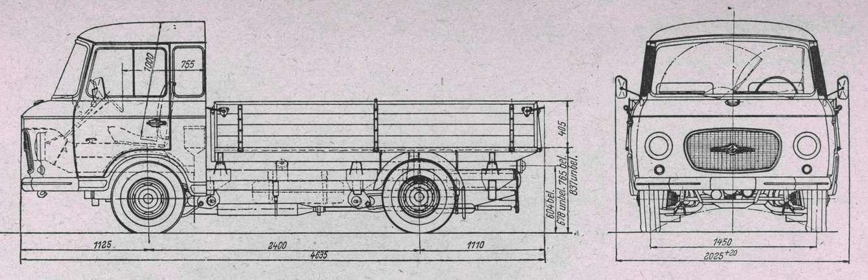 В 1965 году впроизводственную программу добавили автомобиль сбортовой платформой грузоподъемностью 1050кг. Вспомнив опыт завода Framo, кнесущей передней кабине прикрепляли заднюю лонжеронную раму.